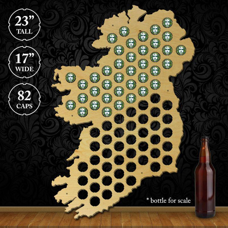 Torched Products Beer Bottle Cap Holder Ireland Beer Cap Map