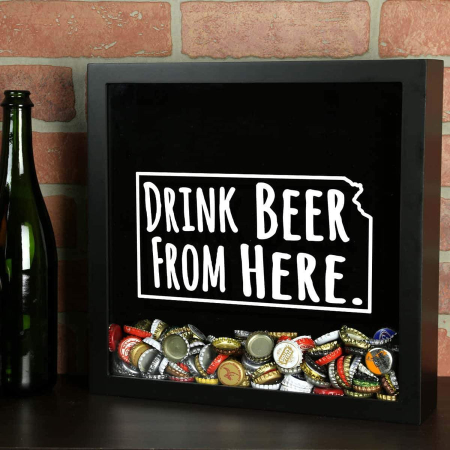 Torched Products Shadow Box Black Kansas Drink Beer From Here Beer Cap Shadow Box (781175488629)