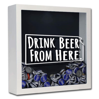 Torched Products Shadow Box White Kansas Drink Beer From Here Beer Cap Shadow Box (781175488629)