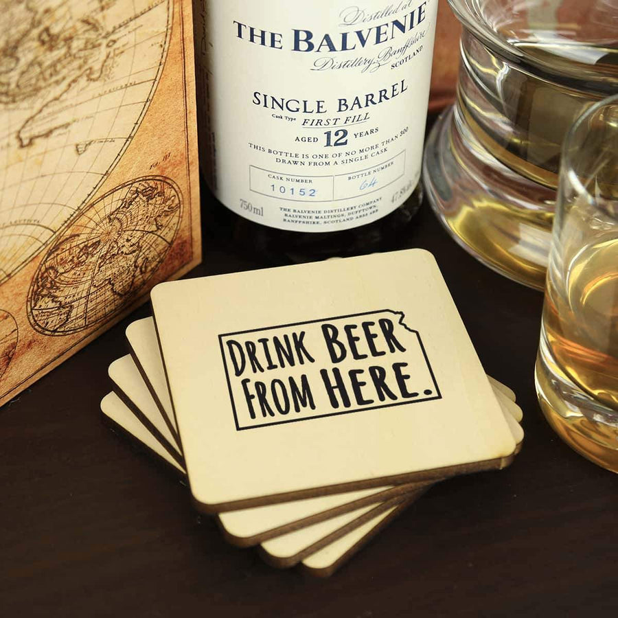 Torched Products Coasters Kansas Drink Beer From Here Coasters (781448249461)