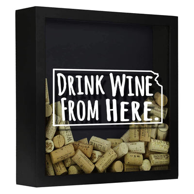 Torched Products Shadow Box Black Kansas Drink Wine From Here Wine Cork Shadow Box