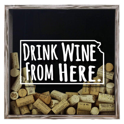 Torched Products Shadow Box Gray Kansas Drink Wine From Here Wine Cork Shadow Box (795740045429)
