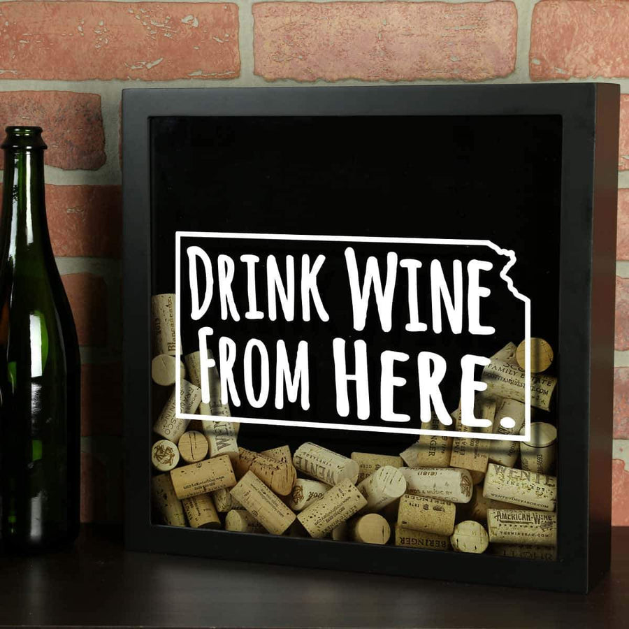 Torched Products Shadow Box Black Kansas Drink Wine From Here Wine Cork Shadow Box (795740045429)