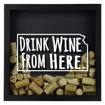 Torched Products Shadow Box Kansas Drink Wine From Here Wine Cork Shadow Box