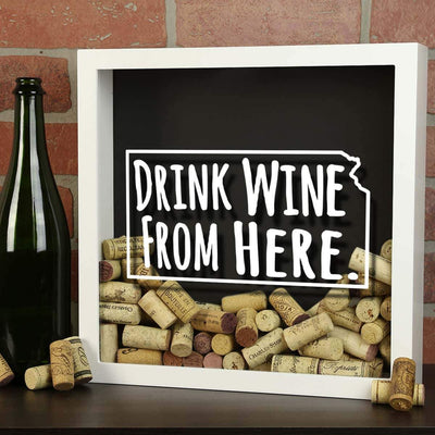 Torched Products Shadow Box Kansas Drink Wine From Here Wine Cork Shadow Box (795740045429)