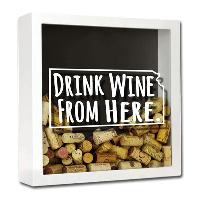 Torched Products Shadow Box White Kansas Drink Wine From Here Wine Cork Shadow Box (795740045429)