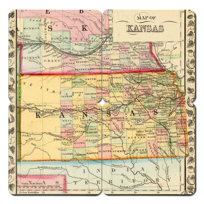 Torched Products Coasters Kansas Old World Map Coaster