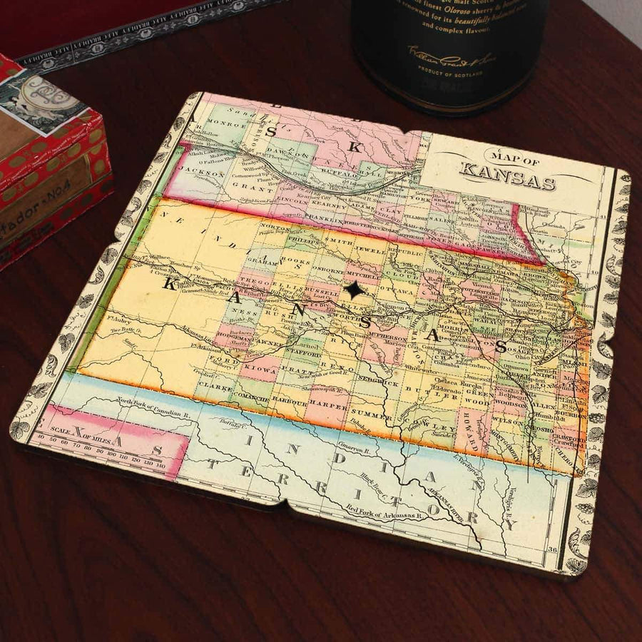 Torched Products Coasters Kansas Old World Map Coaster (790593011829)