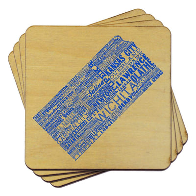 Torched Products Coasters Kansas State Typography Coaster