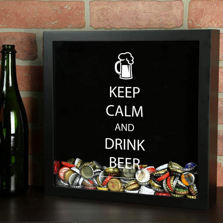 Torched Products Shadow Box Black Keep Calm Drink Beer Shadow Box