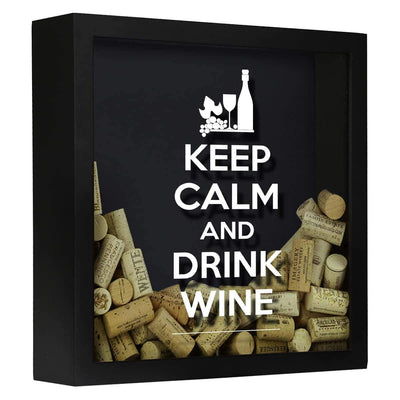 Torched Products Shadow Box Black Keep Calm Drink Wine Shadow Box (797622042741)