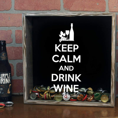 Torched Products Shadow Box Gray Keep Calm Drink Wine Shadow Box (797622042741)