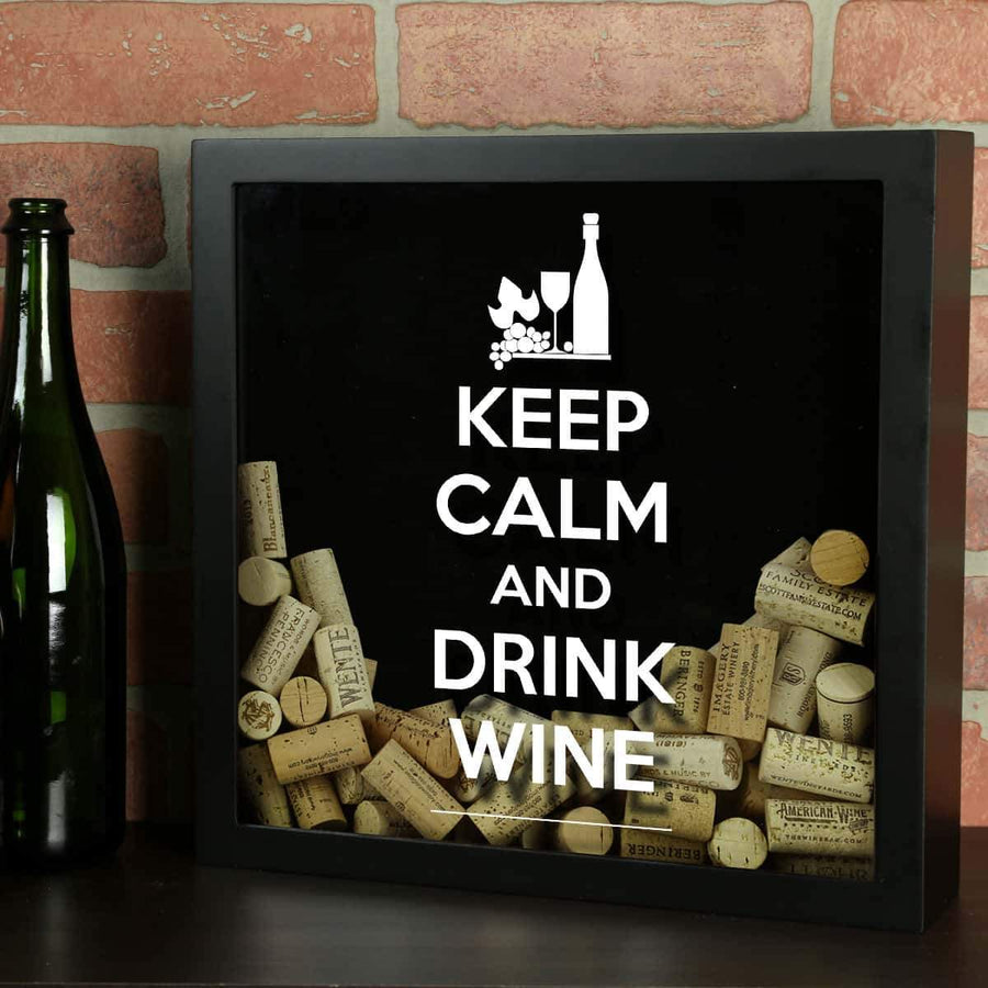 Torched Products Shadow Box Black Keep Calm Drink Wine Shadow Box