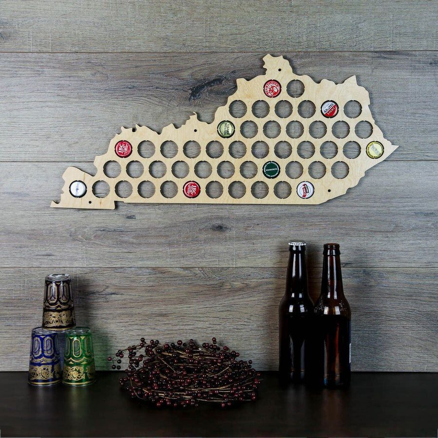 Torched Products Beer Bottle Cap Holder Kentucky Beer Cap Map
