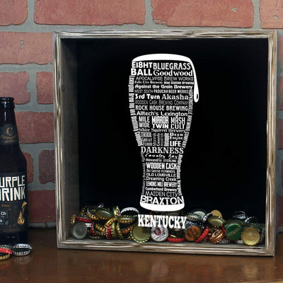 Torched Products Shadow Box Kentucky Beer Typography Shadow Box (779379605621)