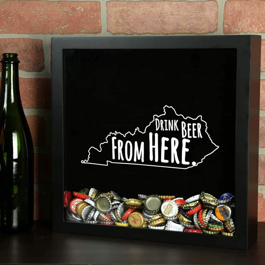 Torched Products Shadow Box Black Kentucky Drink Beer From Here Beer Cap Shadow Box