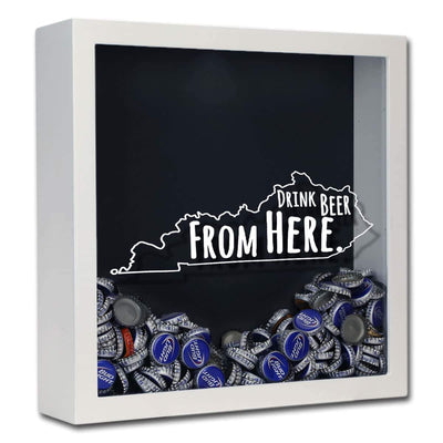 Torched Products Shadow Box White Kentucky Drink Beer From Here Beer Cap Shadow Box (781175586933)