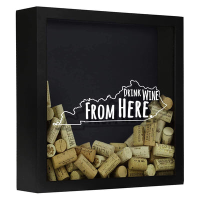 Torched Products Shadow Box Black Kentucky Drink Wine From Here Wine Cork Shadow Box (795741028469)