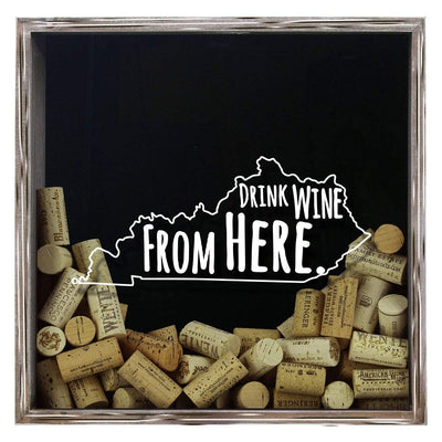 Torched Products Shadow Box Gray Kentucky Drink Wine From Here Wine Cork Shadow Box (795741028469)