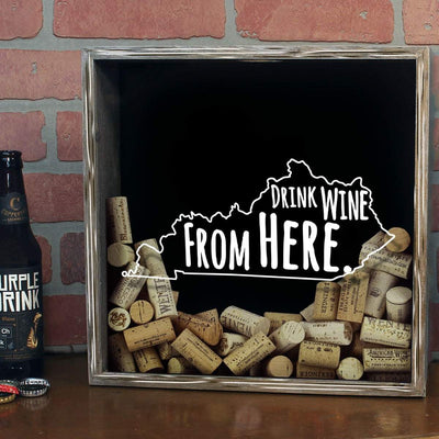 Torched Products Shadow Box Kentucky Drink Wine From Here Wine Cork Shadow Box (795741028469)