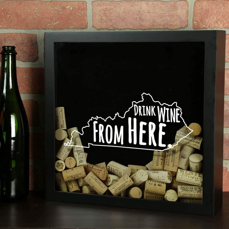 Torched Products Shadow Box Black Kentucky Drink Wine From Here Wine Cork Shadow Box