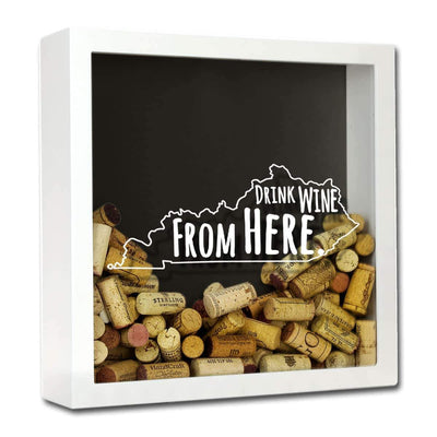 Torched Products Shadow Box White Kentucky Drink Wine From Here Wine Cork Shadow Box (795741028469)
