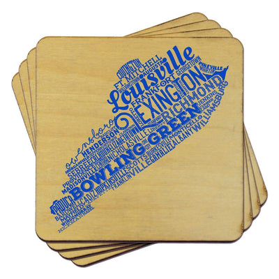 Torched Products Coasters Kentucky State Typography Coaster