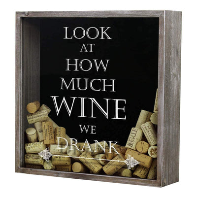 Torched Products Shadow Box Gray Look at How Much Wine We Drank Wine Cork Shadow Box (778760355957)
