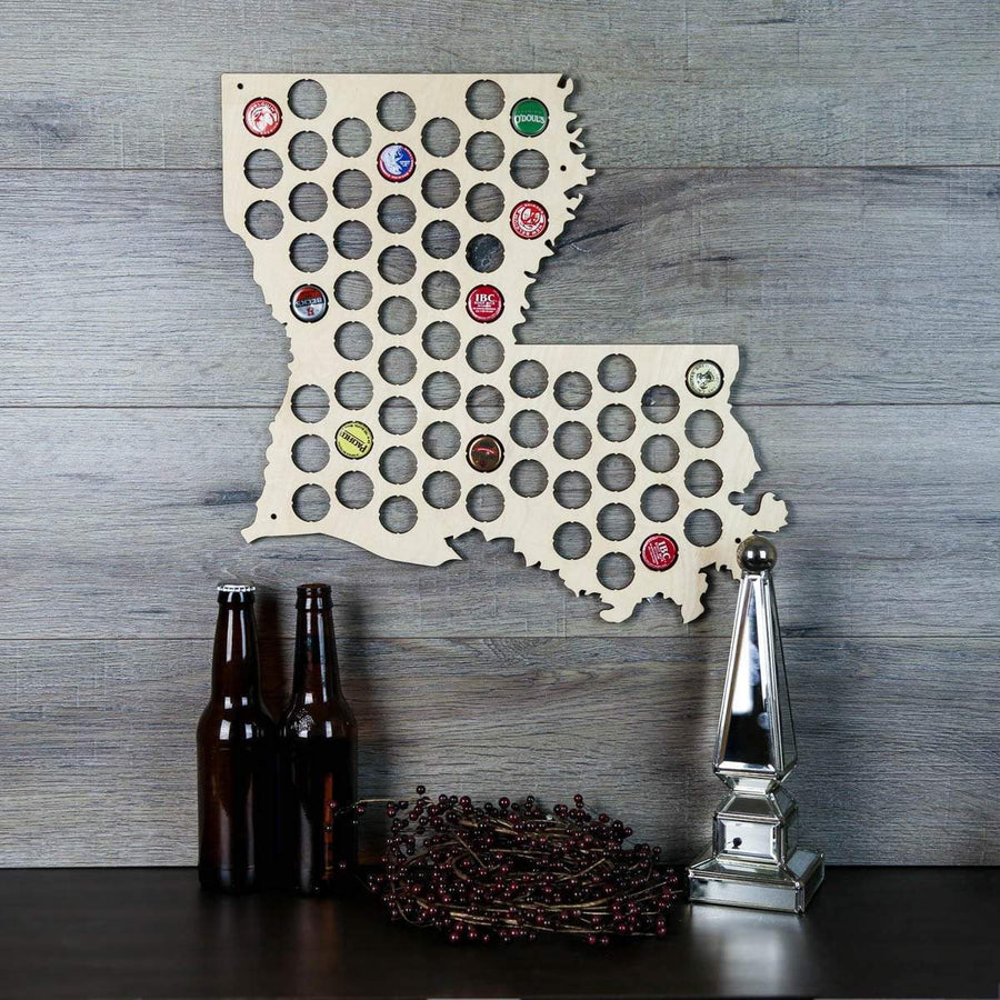 Torched Products Beer Bottle Cap Holder Louisiana Beer Cap Map