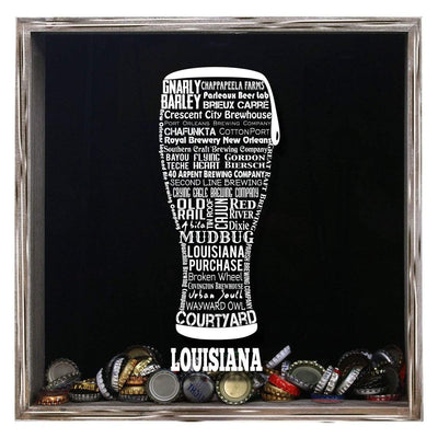 Torched Products Shadow Box Gray Louisiana Beer Typography Shadow Box (779380129909)