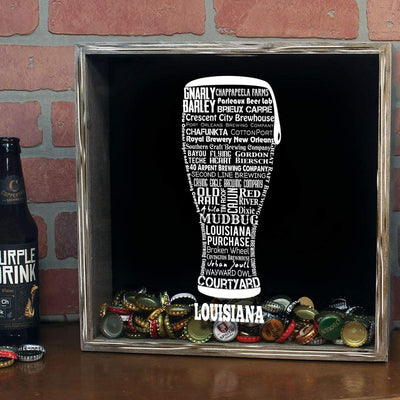 Torched Products Shadow Box Louisiana Beer Typography Shadow Box (779380129909)
