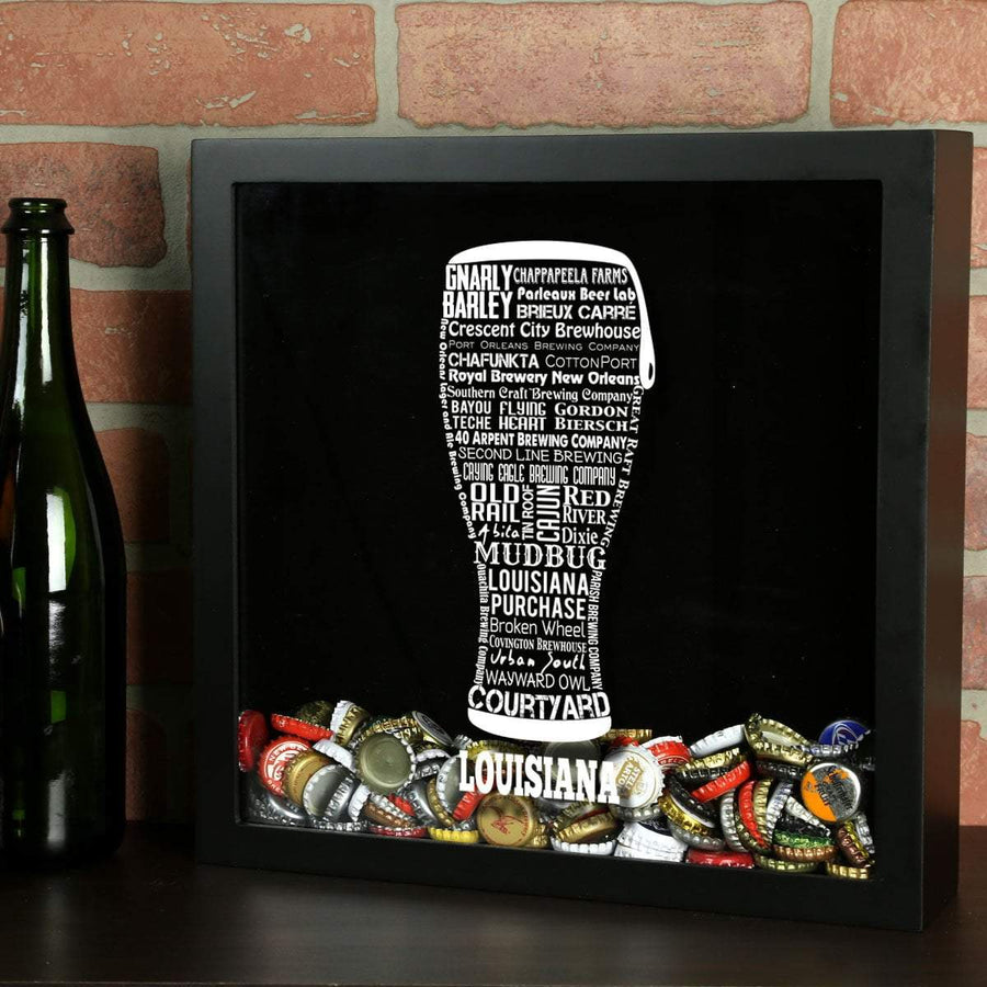 Torched Products Shadow Box Black Louisiana Beer Typography Shadow Box