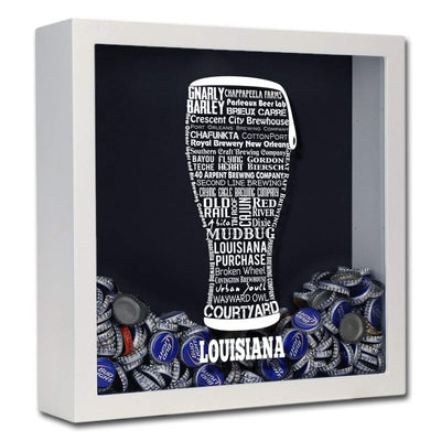 Torched Products Shadow Box White Louisiana Beer Typography Shadow Box (779380129909)