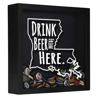 Torched Products Shadow Box Black Louisiana Drink Beer From Here Beer Cap Shadow Box
