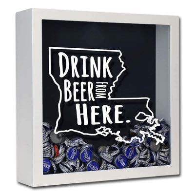 Torched Products Shadow Box White Louisiana Drink Beer From Here Beer Cap Shadow Box