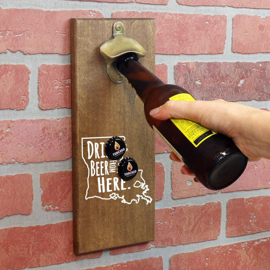 Torched Products Bottle Opener Default Title Louisiana Drink Beer From Here Cap Catching Magnetic Bottle Opener