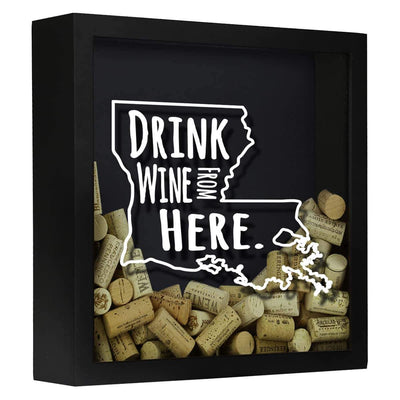 Torched Products Shadow Box Black Louisiana Drink Wine From Here Wine Cork Shadow Box (795742634101)