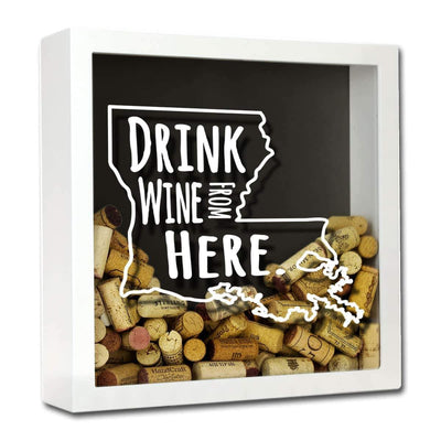 Torched Products Shadow Box White Louisiana Drink Wine From Here Wine Cork Shadow Box (795742634101)