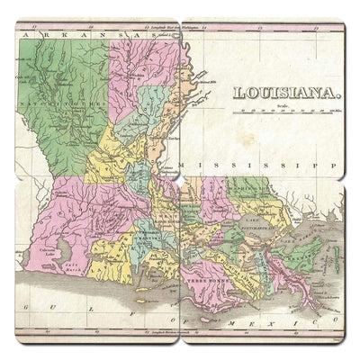 Torched Products Coasters Louisiana Old World Map Coaster (790593568885)