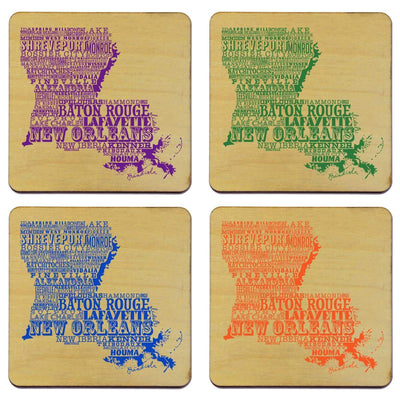 Torched Products Coasters Louisiana State Typography Coaster