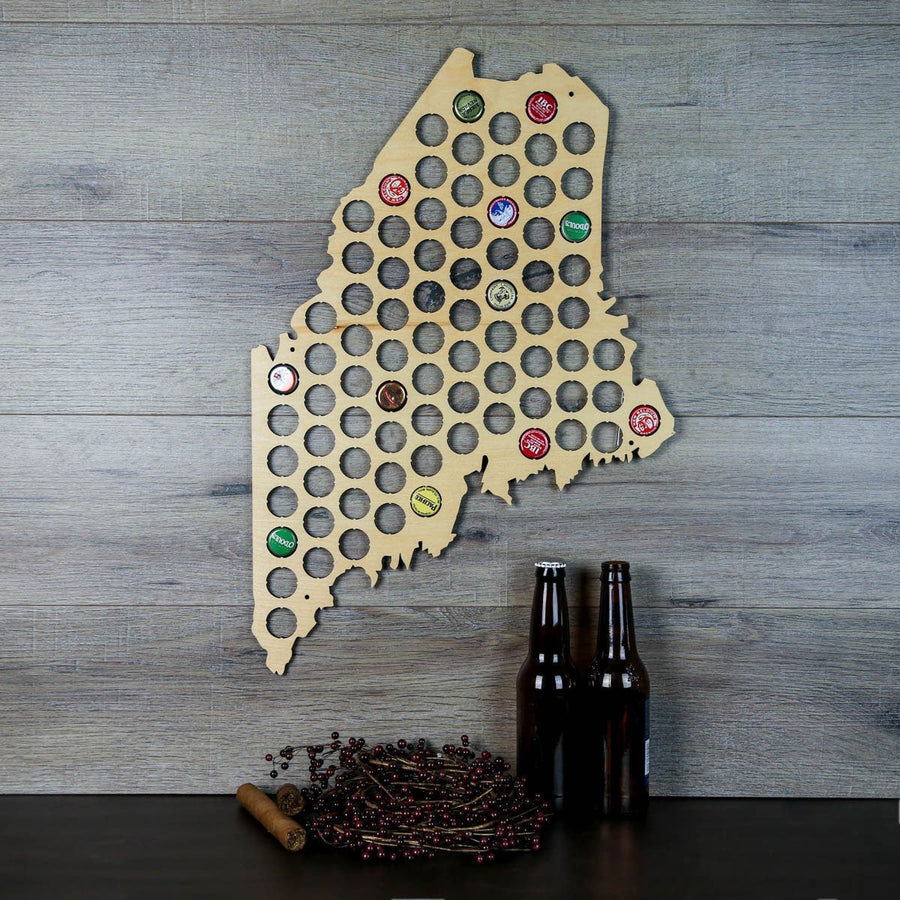 Torched Products Beer Bottle Cap Holder Maine Beer Cap Map