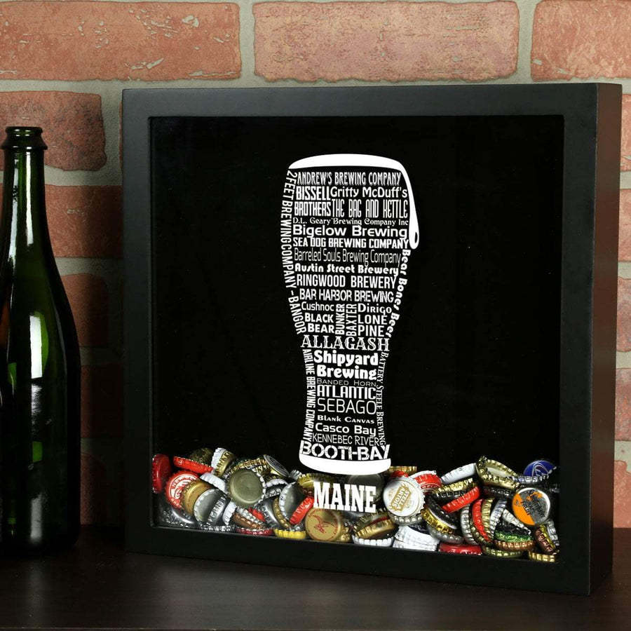 Torched Products Shadow Box Black Maine Beer Typography Shadow Box