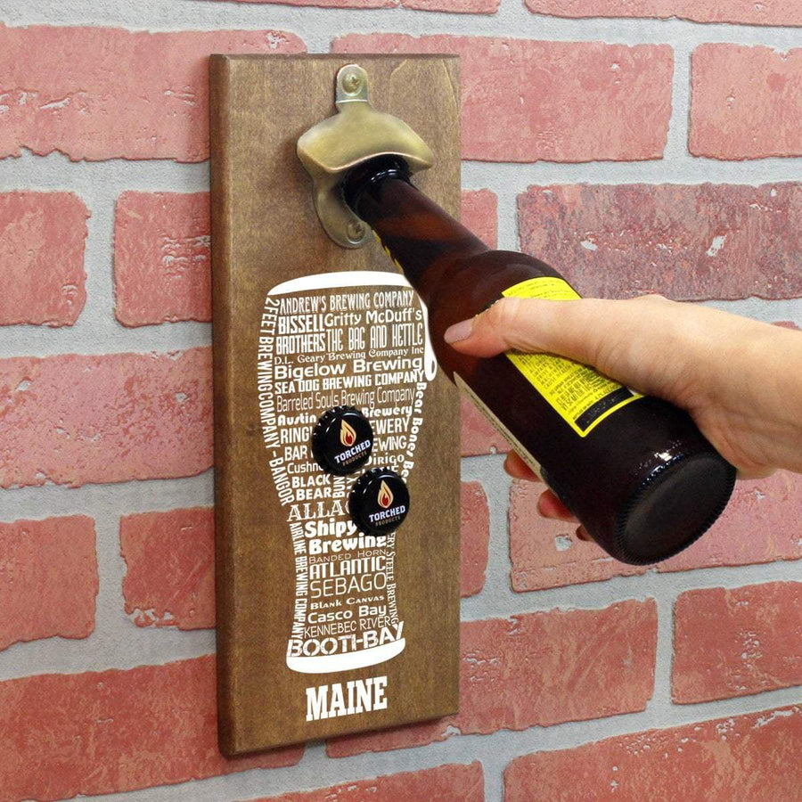 Torched Products Bottle Opener Default Title Maine Craft Beer Typography Cap Catching Magnetic Bottle Opener (789177172085)