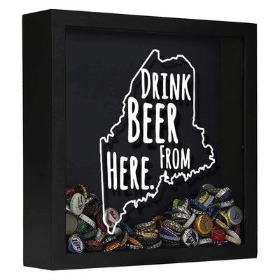 Torched Products Shadow Box Black Maine Drink Beer From Here Beer Cap Shadow Box (781176406133)