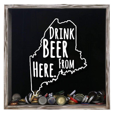 Torched Products Shadow Box Gray Maine Drink Beer From Here Beer Cap Shadow Box (781176406133)