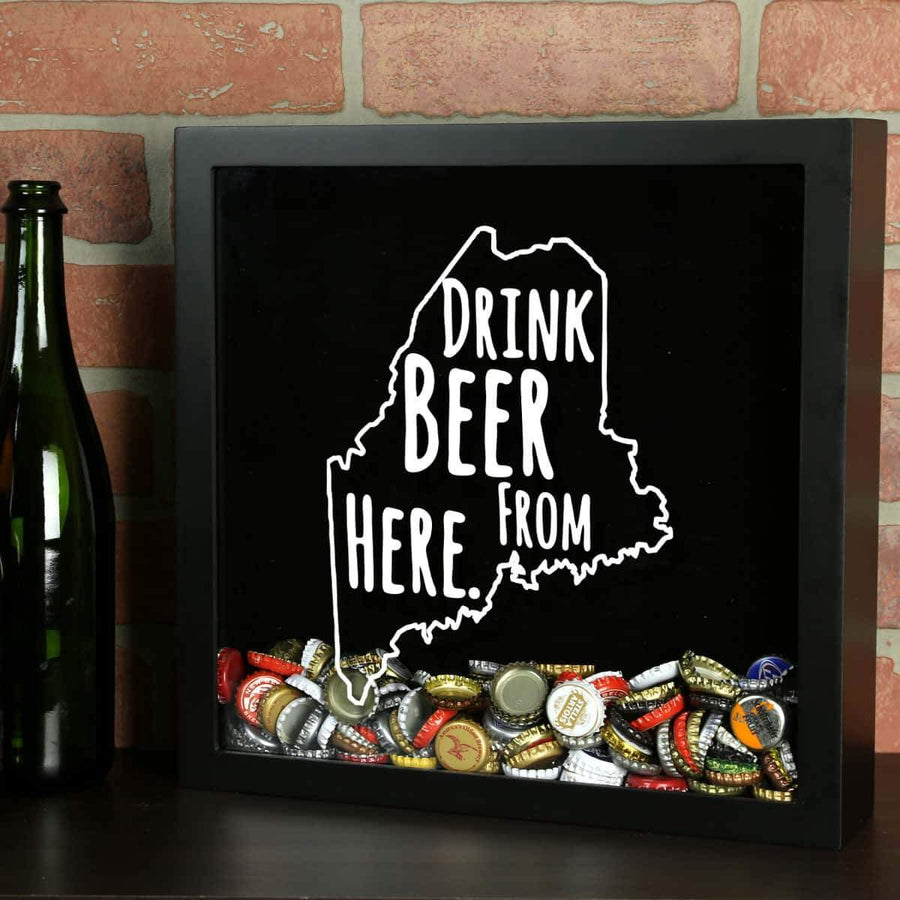 Torched Products Shadow Box Black Maine Drink Beer From Here Beer Cap Shadow Box