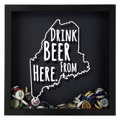 Torched Products Shadow Box Maine Drink Beer From Here Beer Cap Shadow Box