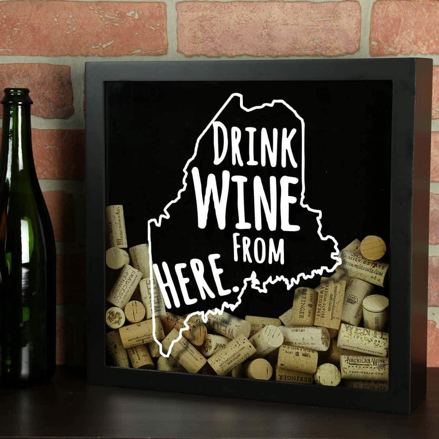 Torched Products Shadow Box Black Maine Drink Wine From Here Wine Cork Shadow Box