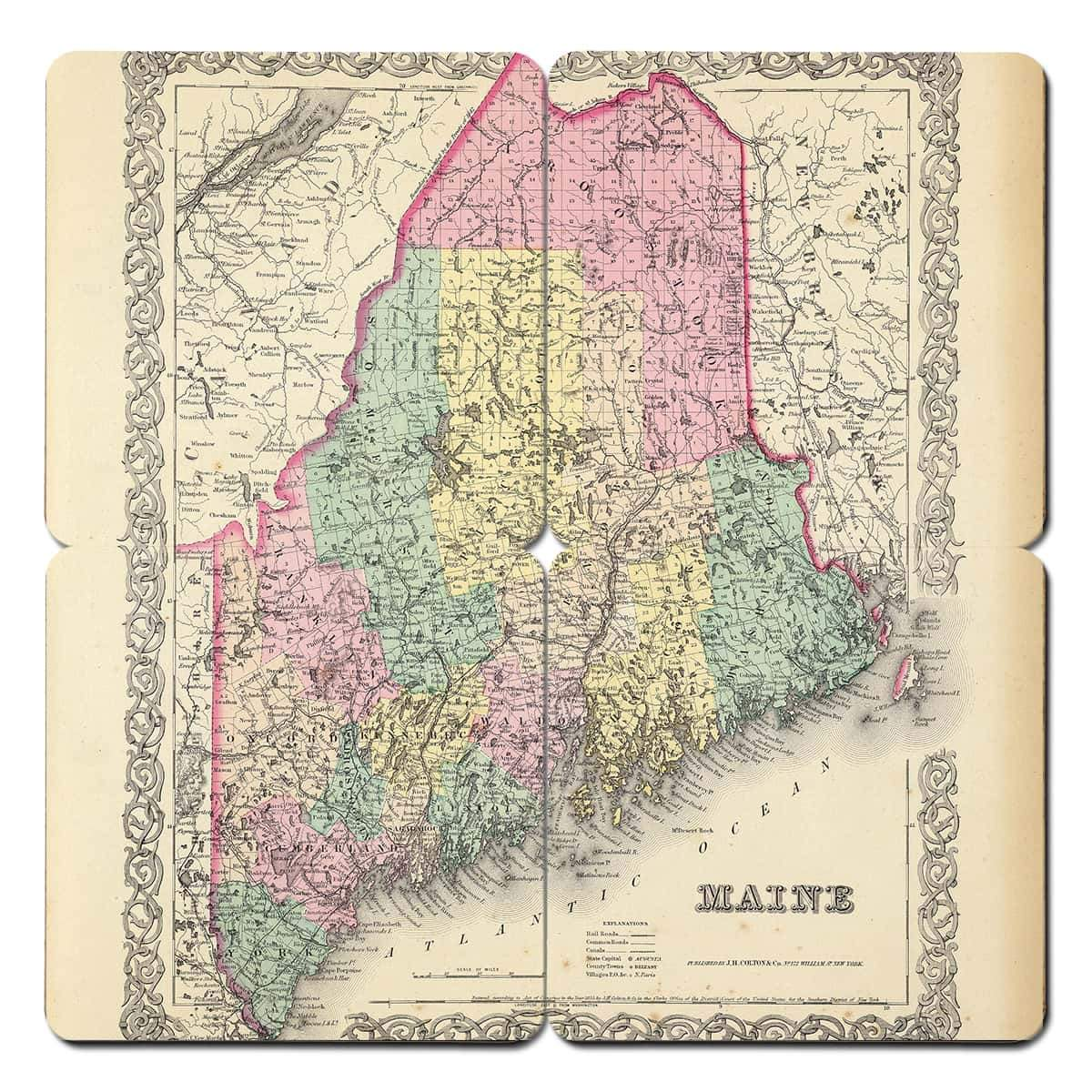 Maine Old World Map Coaster