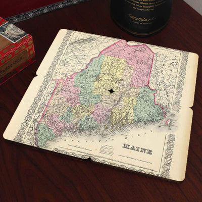Torched Products Coasters Maine Old World Map Coaster (790593667189)